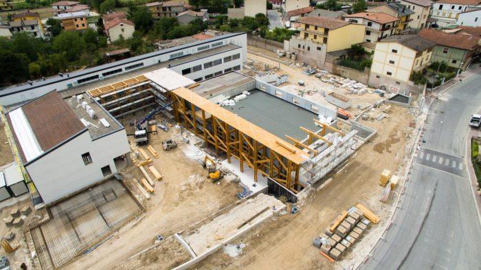 veduta aerea scuola in costruzione a celano